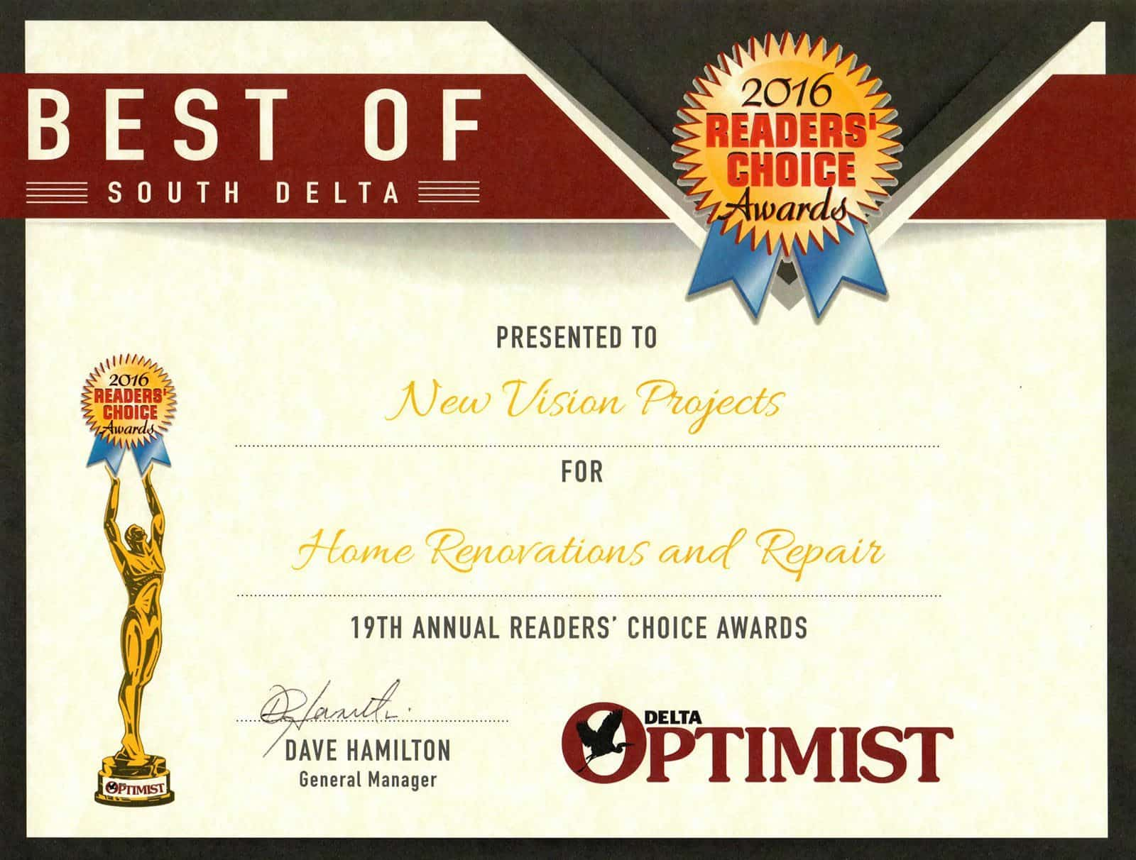 2016 Delta Optimist Readers Choice Awards – Best Home Renovations and Repair