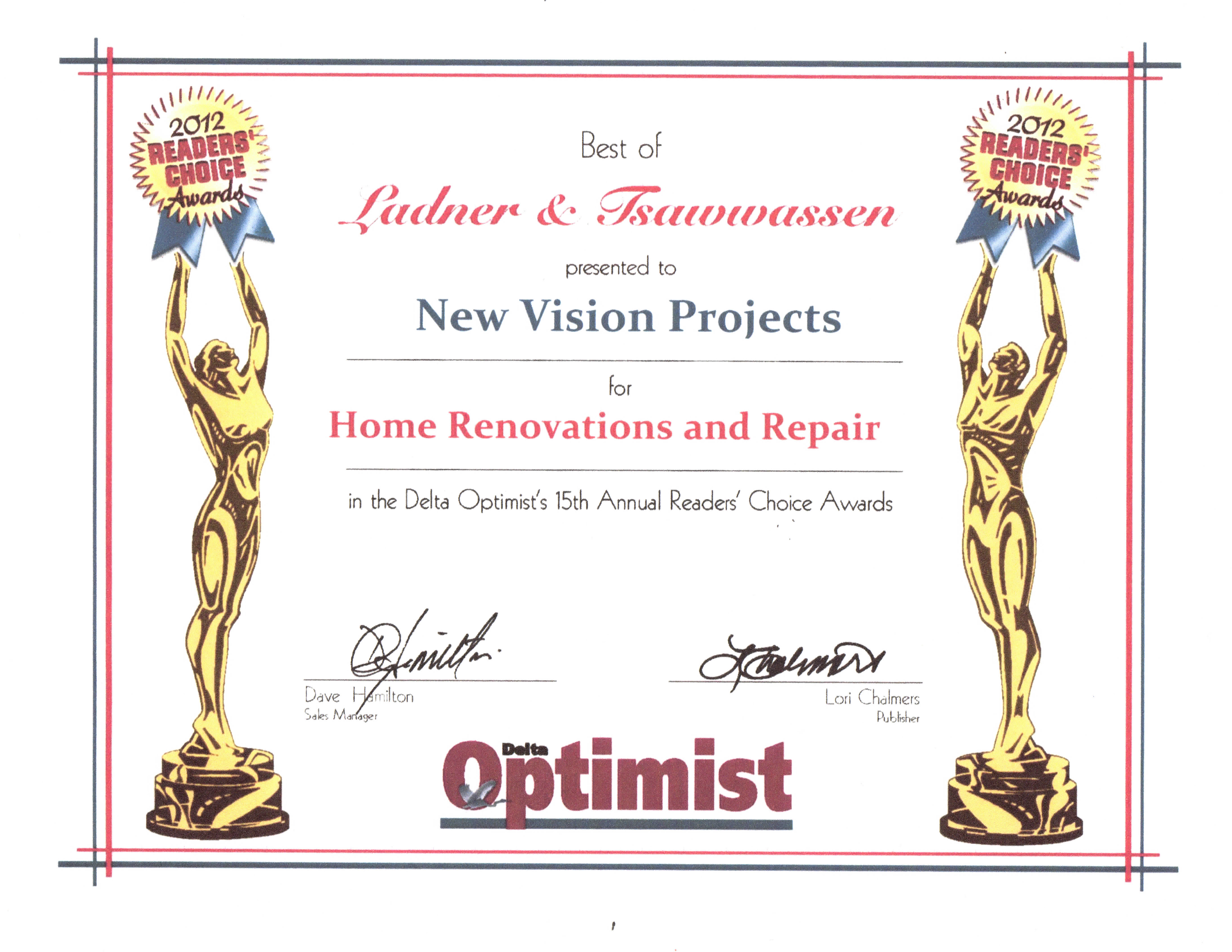 2012 Delta Optimist Readers Choice Awards – Best Home Renovations and Repair