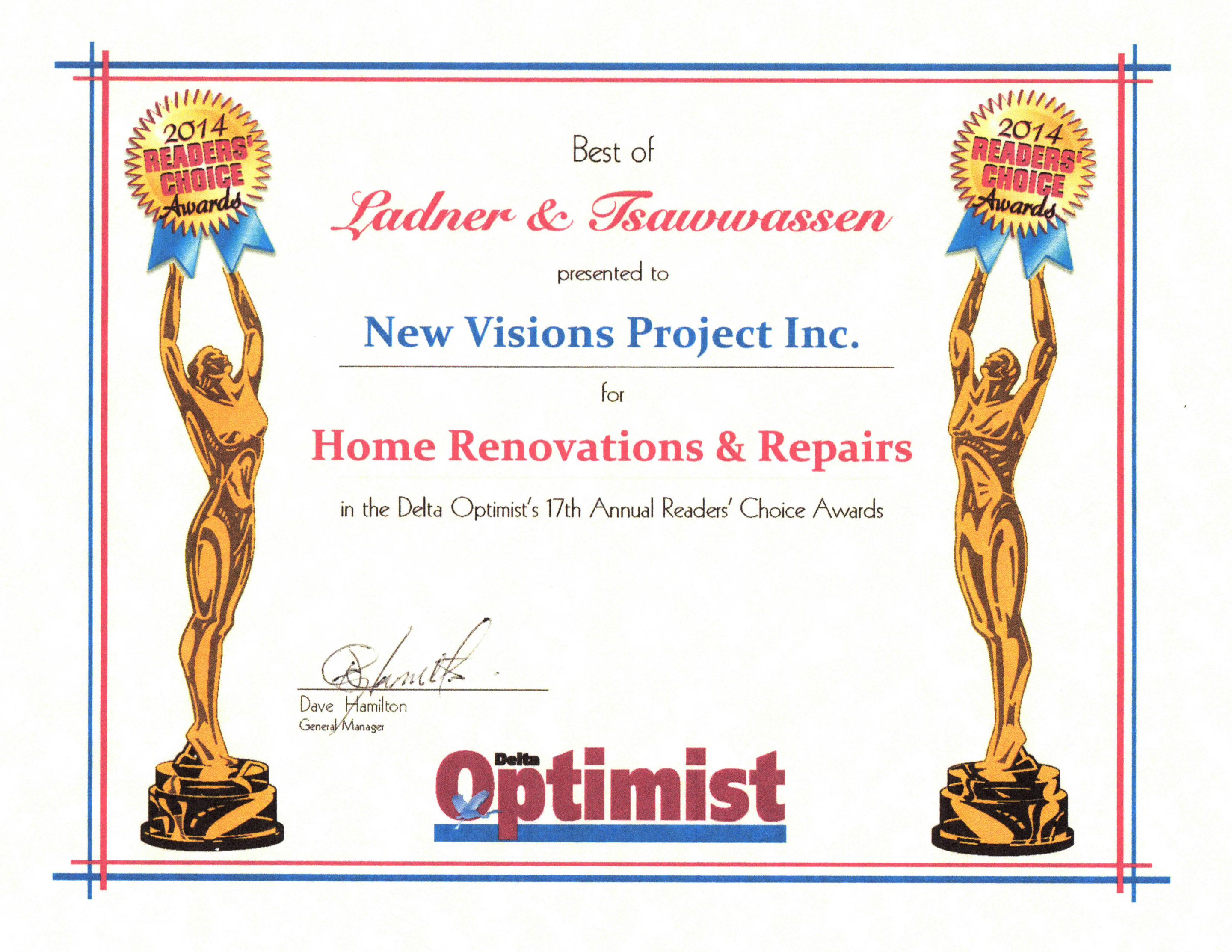2014 Delta Optimist Readers Choice Awards – Best Home Renovations and Repair